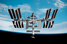 Cruise shuttle docked with the ISS, illustration