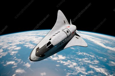 Cruise shuttle in low earth orbit, illustration
