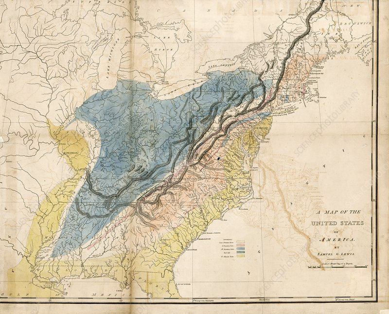 Geological map of the eastern USA, 1809 - Stock Image - C036/7365 ...