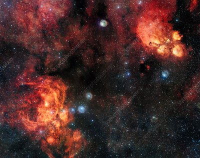 Cat's Paw and Lobster nebulae, VST image