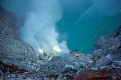 Blue flames of Ijen volcano, Indonesia