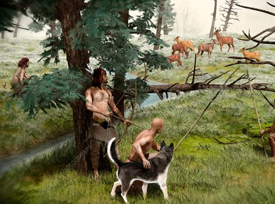 Neolithic hunting, illustration