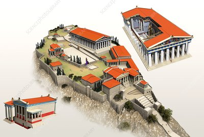 Acropolis and temples, illustration