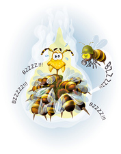 Japanese honey bee thermal defence, illustration
