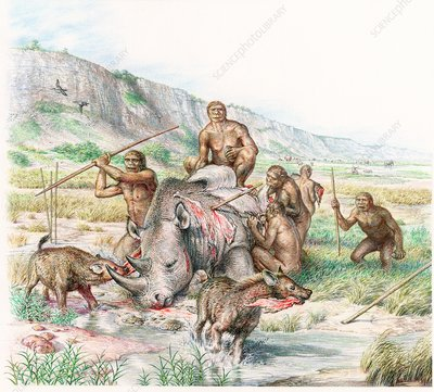 Homo heidelbergensis butchering a rhino, illustration