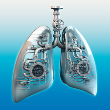 Metal lungs, conceptual illustration