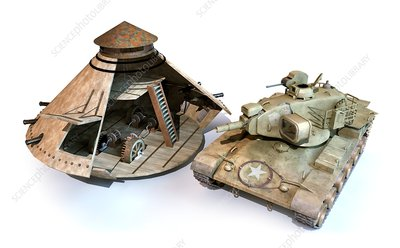Leonardo da Vinci's armoured car and a tank, illustration