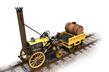Stephenson's Rocket locomotive, illustration
