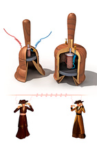 Meucci's telephone design, illustration
