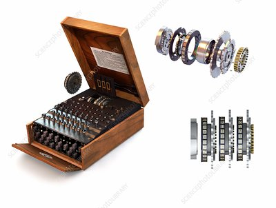 Enigma cryptography machine, illustration
