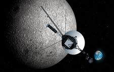 Artwork of Voyager Passing Moon