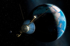 Artwork of Voyager Leaving Earth