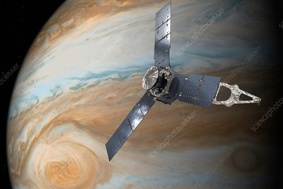 Juno spacecraft at Jupiter, illustration