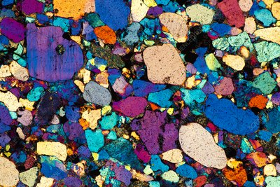Arkose, polarised light micrograph