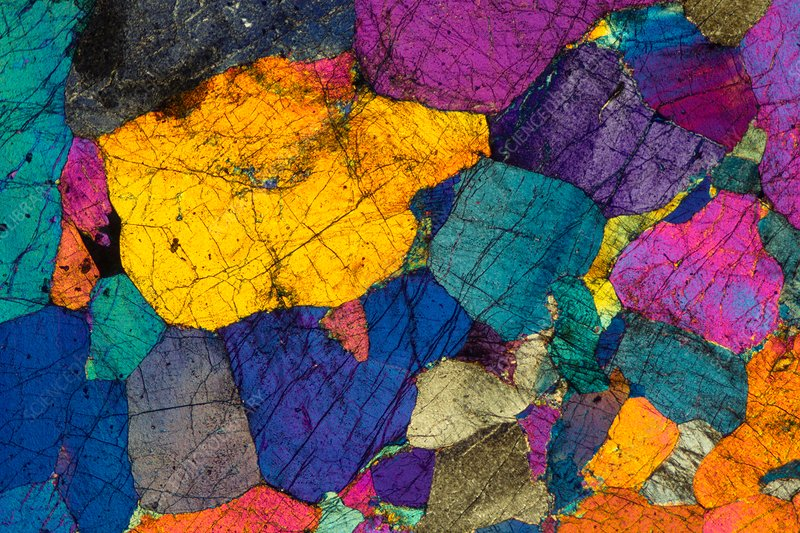 Peridotite, polarised light micrograph