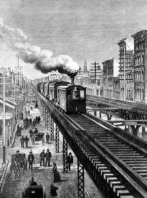 19th Century New York City elevated railway, illustration