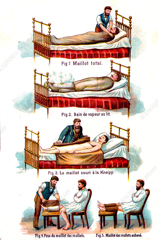 19th Century bed bath and bandaging techniques, illustration