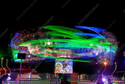 Funfair ride in motion