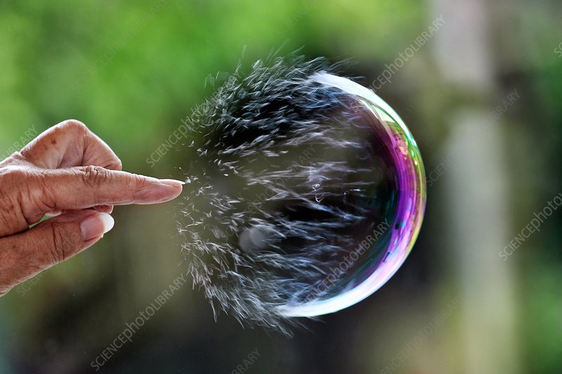 Bursting soap bubble, high-speed photograph