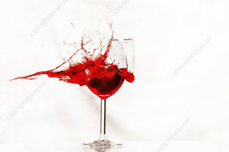 Shot wine glass, high-speed image