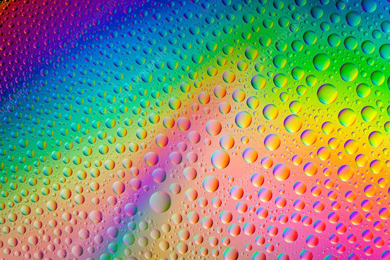 Water drops under polarised light