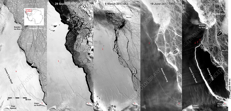 Larsen C iceberg, satellite images
