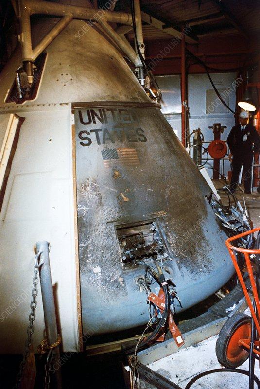 Apollo 1 command module after fire