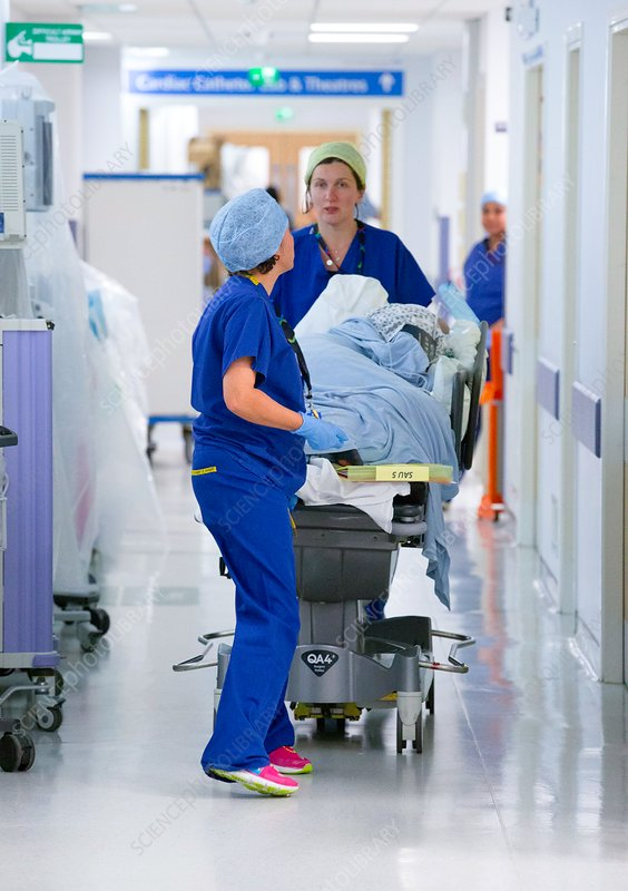 Surgical staff and patient in a hospital corridor