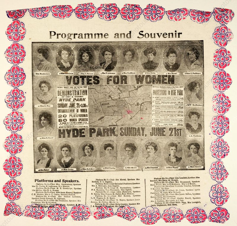 Suffragette demonstration advertisement