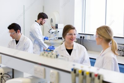 Chemistry students in a teaching laboratory