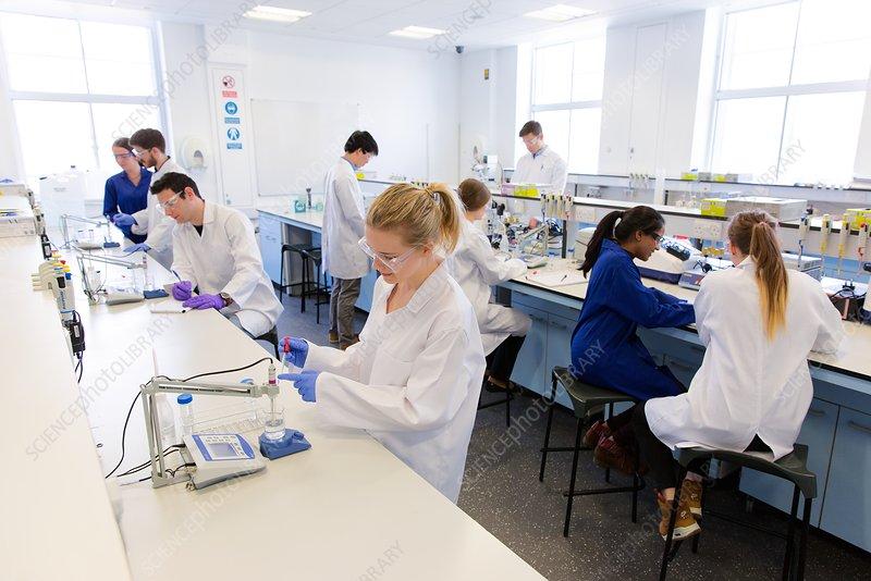 Chemistry students using digital pH meters