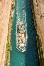 Ship passing through the Corinth Canal.