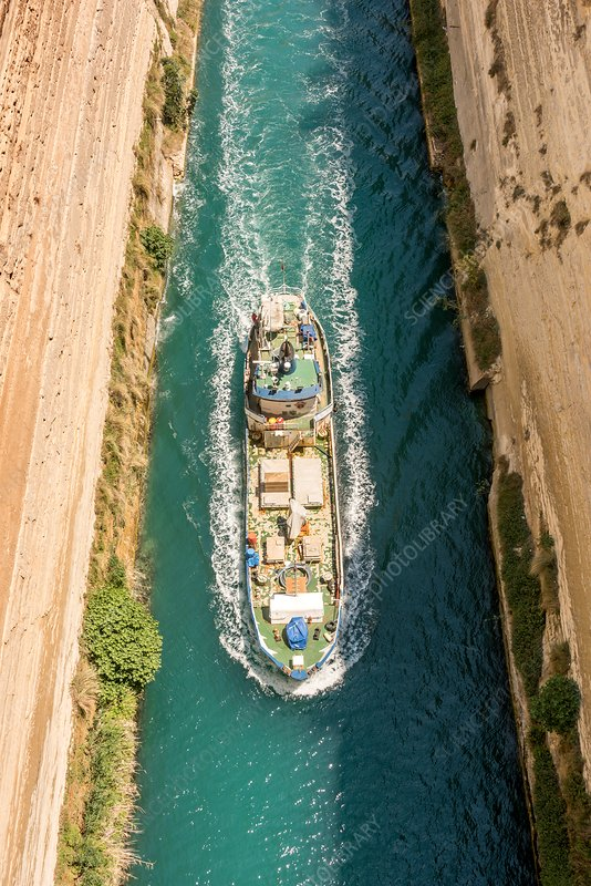 Ship passing through the Corinth Canal