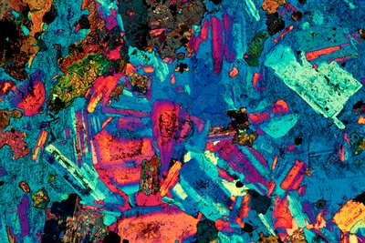 Polarised LM of a thin section of diorite