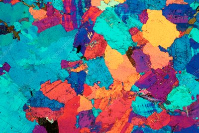 Granite, polarised light micrograph