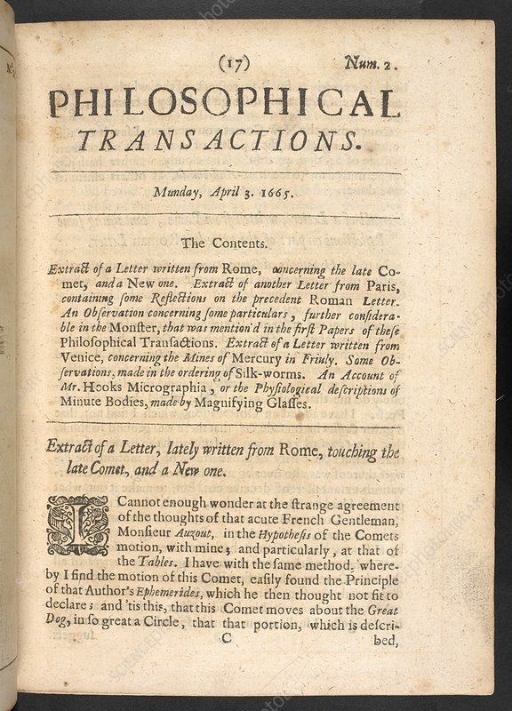 Contents page from Philosophical Transactions, 1665