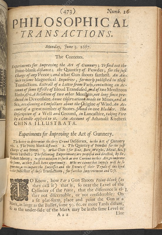 Contents page from Philosophical Transactions, 1667