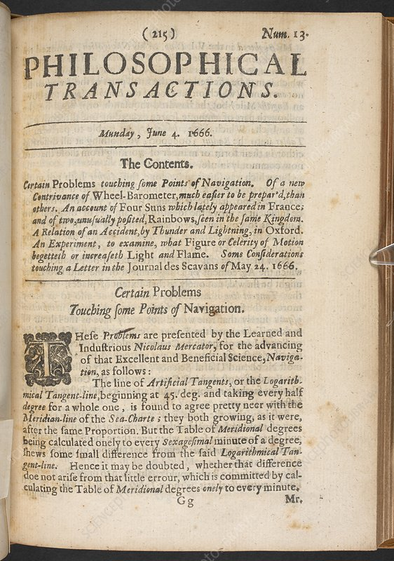 Contents page from Philosophical Transactions, 1666