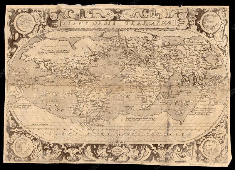 Map of the world, 17th century
