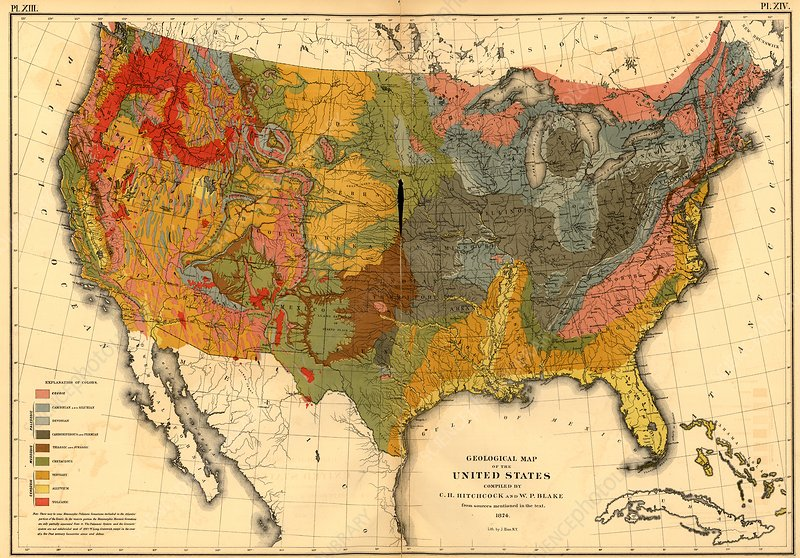 Geological map of the USA, 1870s