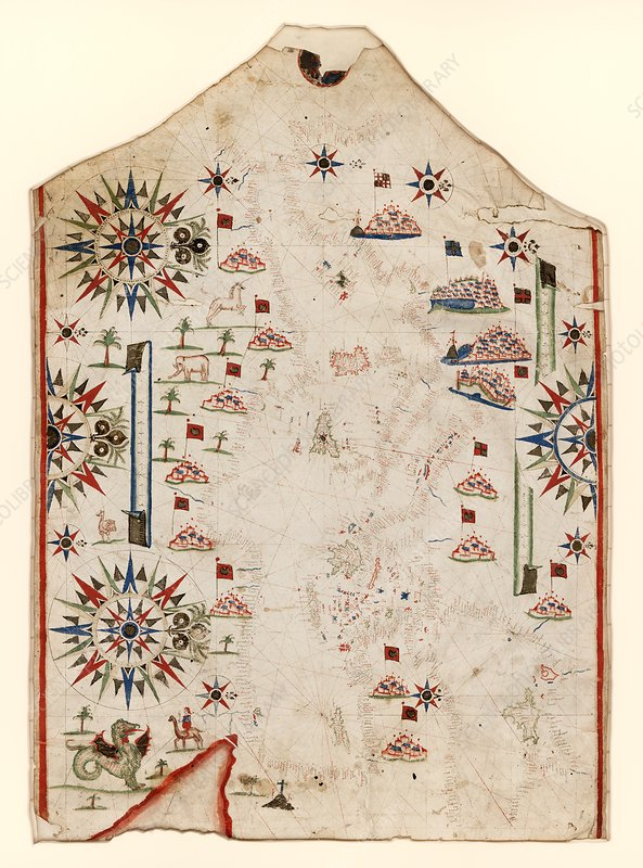 Chart of the Mediterranean Sea, 16th century