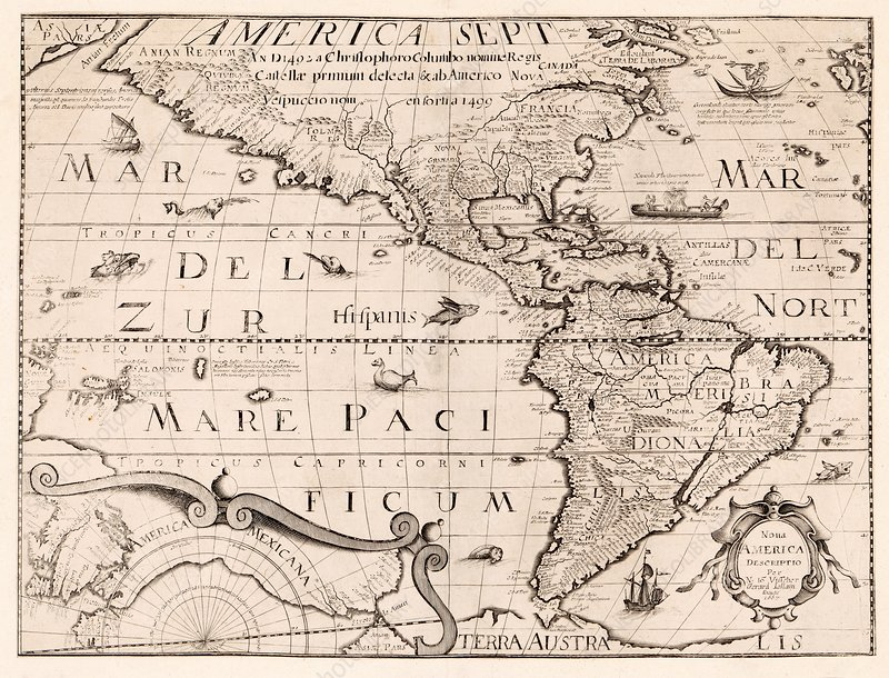 Map of the Americas, 17th century