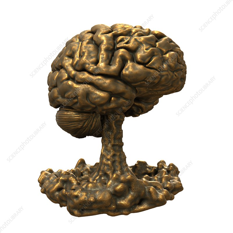 Brain made of bronze, illustration
