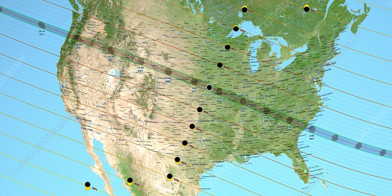 August 2017 total solar eclipse path, illustration