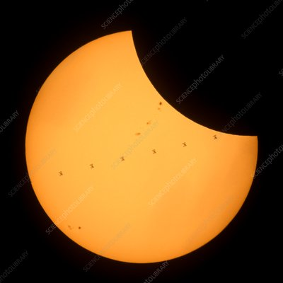 ISS transit of 2017 solar eclipse, composite image