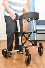 Mobility frame with wheels and seat