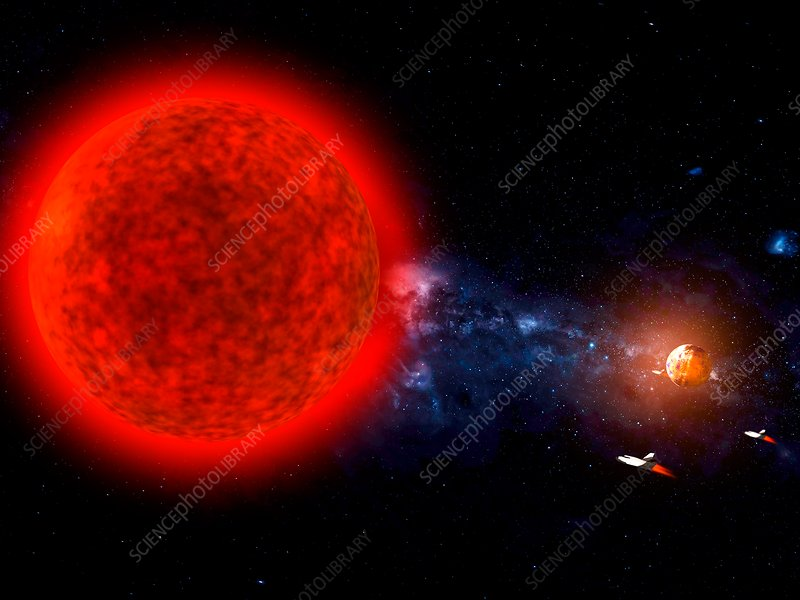 Exploration of a red dwarf star system, illustration
