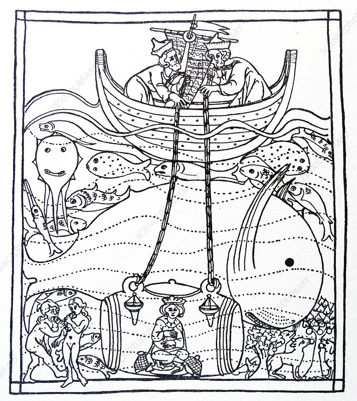 Alexander the Great in a glass diving bell, illustration