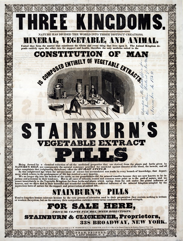 Stainburn's Vegetable Extract Pills, 1842