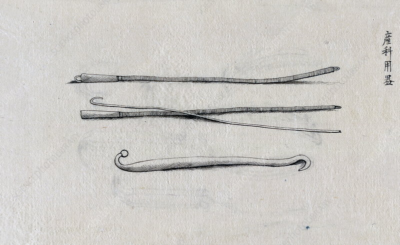 Surgical instruments, 19th century illustration